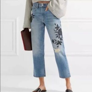 Rag & Bone Marilyn Ramona embroidered crop jeans
